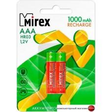 Аккумуляторы Mirex AAA 1000mAh 2 шт HR03-10-E2