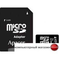 Карта памяти Apacer microSDHC UHS-I (Class 10) 16GB + адаптер (AP16GMCSH10U1-R)